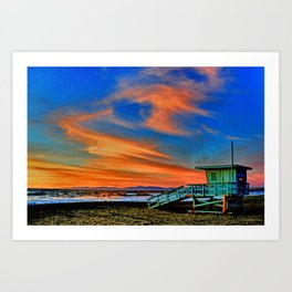 Redondo Beach Sunset at HR Art Print