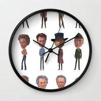 clint barton Wall Clocks featuring Clint by Mitch Frey