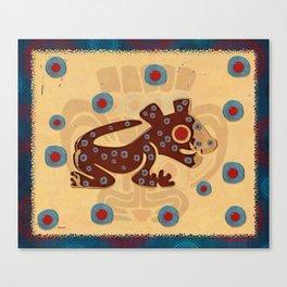 Mayan Baby Jaguar Folk Art Textile Canvas Print