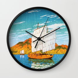 A Boat Laden With Stones, Bingo, Views Of Japanese Scenery - Digital Remastered Edition Wall Clock