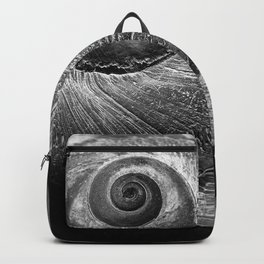 Black and White moon Snail shell Backpack