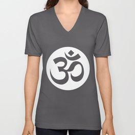 Om Ohm Aum Symbol design Spiritual Yoga Tee Gift graphic Unisex V-Neck