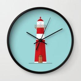 Lighthouse on blue Wall Clock