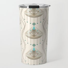Beautiful medallions with blue appliqués . Travel Mug