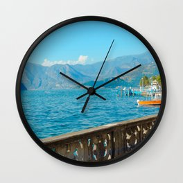View of Lago d'Iseo | Lago d'Iseo Italy travel photography |  Travel Art Print Wall Clock