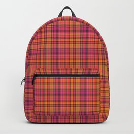 Picnic style checked multicoloured pattern in orange and Mexican pink Backpack