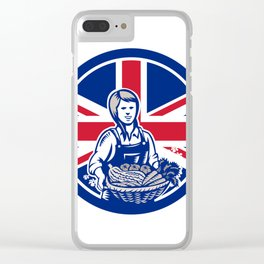 British Female Organic Farmer Union Jack Flag Icon Clear iPhone Case