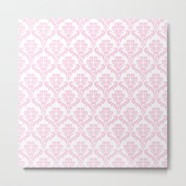 Venetian Damask, Ornaments, Swirls - Pink White Metal Print