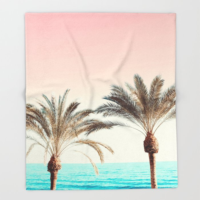 Modern California Vibes pink sky blue seascape tropical palm tree beach photography Throw Blanket