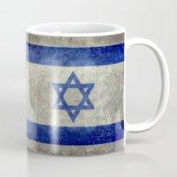 palestine Mugs featuring The National flag of the State of Israel - Distressed worn version by Bruce Stanfield