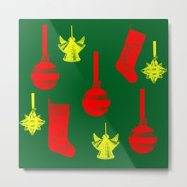 Christmas ornaments gold red pattern on green background Metal Print