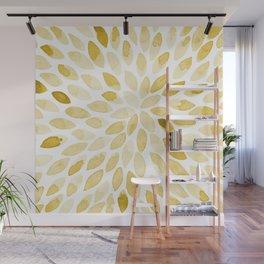 Watercolor brush strokes - yellow Wall Mural