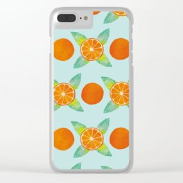 Watercolor Oranges Pattern in Blue Clear iPhone Case