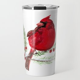 Cardinal Christmas Art Travel Mug