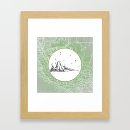 Machu Picchu, Peru, South America - Seven New Wonders Skyline Illustration Drawing Framed Art Print