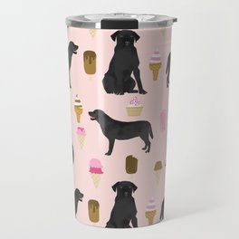 black lab ice cream dog breed pet portrait gifts for labrador retriever lovers Travel Mug