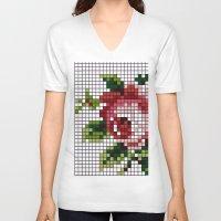 shabby chic V-neck T-shirts featuring Shabby Chic Rose by Alisa Galitsyna