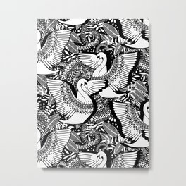 Stylish Swans in Monochrome Black and White Metal Print