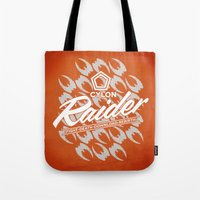 tomb raider Tote Bags featuring RAIDER by Geekleetist
