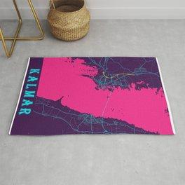 Kalmar Neon City Map, Kalmar Minimalist City Map Art Print Rug
