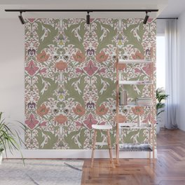 Spring Pattern with Poppy Flowers and Gladioli Wall Mural