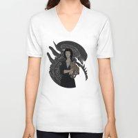alien V-neck T-shirts featuring Alien by Vaahlkult