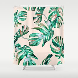 Tropical Palm Leaves Coral Greenery Shower Curtain