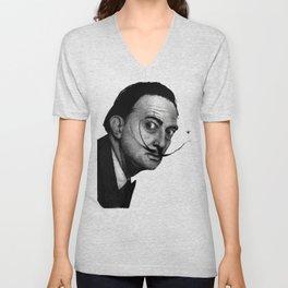 Salvador Dalí (b&w) Unisex V-Neck