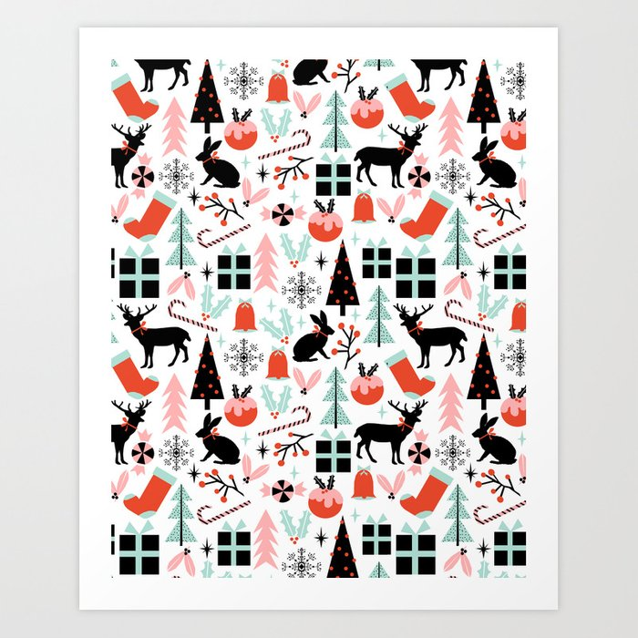 Candy Cane Christmas Tree.Christmas Ornaments Minimal Holly Reindeer Candy Cane Christmas Tree Pattern Print Art Print By Charlottewinter