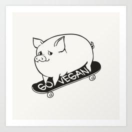 Skateboarding Vegan Pig Art Print