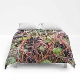 Freezing Rain On Green Ivy Vines Comforters