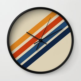 Rainbow 70s 60s Stripe Colorful Rainbow Tan Retro Vintage Wall Clock