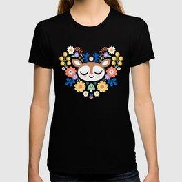 Floal Heart Deer / Cute Animal T-shirt
