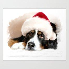 Santa Dog Art Print