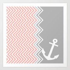 Coral Nautical Chevron  Art Print