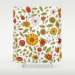 Spring Flitty Flowers Shower Curtain