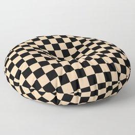 Black and Deep Peach Orange Checkerboard Floor Pillow