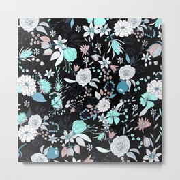 Abstract teal white black country modern floral Metal Print