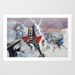 Thor and the Frost Giant War Art Print