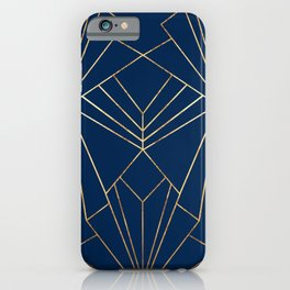 Navy & Gold Art Deco - Large Scale iPhone Case