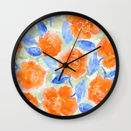 Cottage Peonies Wall Clock