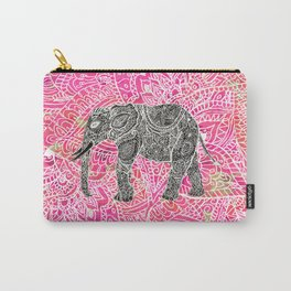 Pink Safari   Tribal Paisley Elephant Henna Pattern Carry-All Pouch