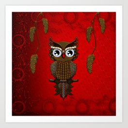 Wonderful steampunk owl on red background Art Print