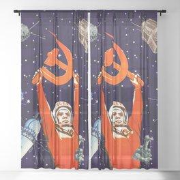 Gagarin space art #8 Sheer Curtain