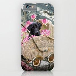 Labrador Retriever In Baby Carriage Mountain Landscape iPhone Case
