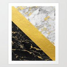 Marble Mix // Gold Flecked Black & White Marble Art Print