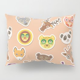 Set of funny animals muzzle seamless pattern. pink peach background. Vector Pillow Sham