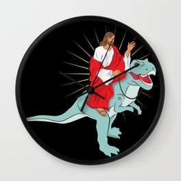 Jesus Riding A Dinosaurs Rex Gift Wall Clock