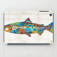 spawn iPad Cases featuring Fish Art Print - Colorful Salmon - By Sharon Cummings by Sharon Cummings
