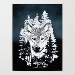 Forest Wolf Art Poster
